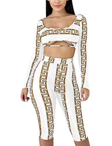 BORIFLORS Women's Sexy Bodycon Club Jumpsuit 2 Piece Outfits Long Sleeve Crop Top Shorts Set,X-Large,White 1