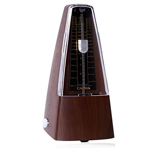 CAHAYA Mechanical Metronome Steady Traditional Metronome with Audible Bell Chime for Piano Guitar (brown)