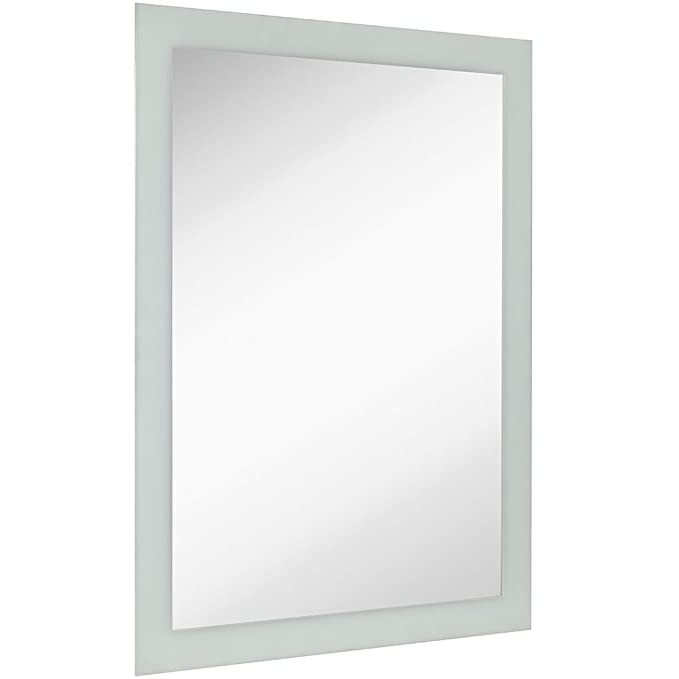 Large Frosted Edge Modern Rectangular Wall Mirror | Premium Silver Backed Etched Rectangle Mirrored Glass Panel Vanity, Bedroom, or Bathroom Hangs Horizontal & Vertical Frameless (30