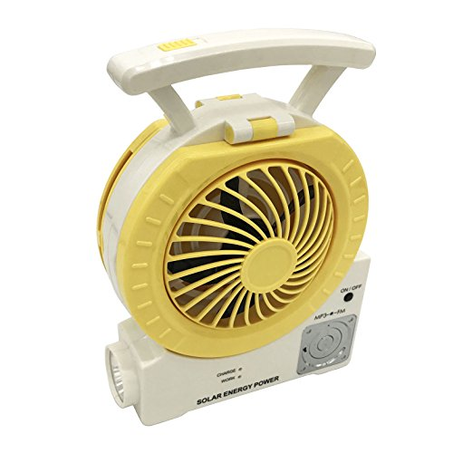 - DHD Multi-function Solar Fan Electric Outdoor Fishing Fan with Radio/MP3/Table Lamp/Torch/Cell Phone Charging Function for Camping Fishing and Entertainment (yellow)