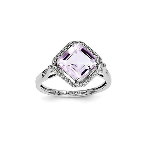 ICE CARATS 925 Sterling Silver Diamond Pink Quartz Square Band Ring Size 6.00 Gemstone Fine Jewelry Ideal Gifts For Women Gift Set From (Cushion Very Fine Diamond Solitaire)