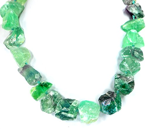 008 Ny6Design Green Fluorite Nugget Beads Hand Knotted Long Necklace Silver Plated Clasp 19