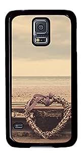 Beach Heart DIY Hard Shell Black Designed For Samsung Galaxy S5 I9600 Case