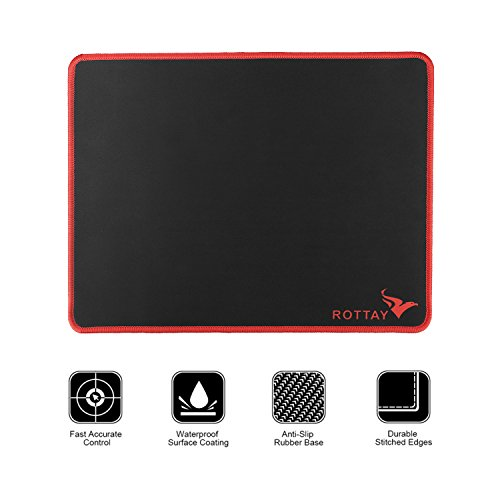 Gaming Mouse Pad, Rottay Natural Rubber Base 3mm Thick Non-Slip Waterproof Large Mobile Mousepad with Stitched Edges and Precise Tracking Perfect for Gamer (L(Red Edge))