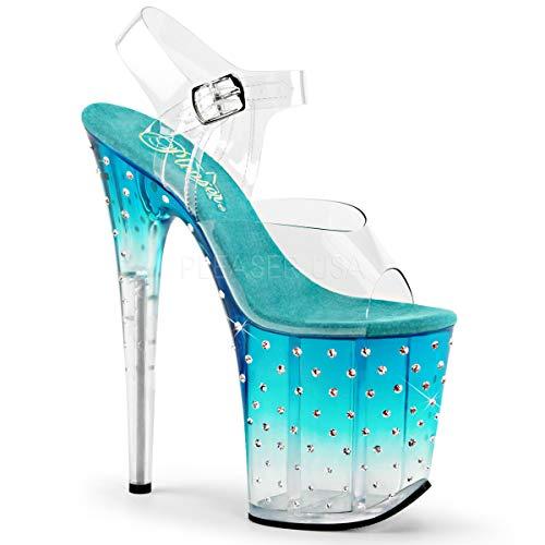 Pleaser Women's Stdus808t/C/TL-C Platform Dress Sandal, Clear/Teal/Clear, 10 M -