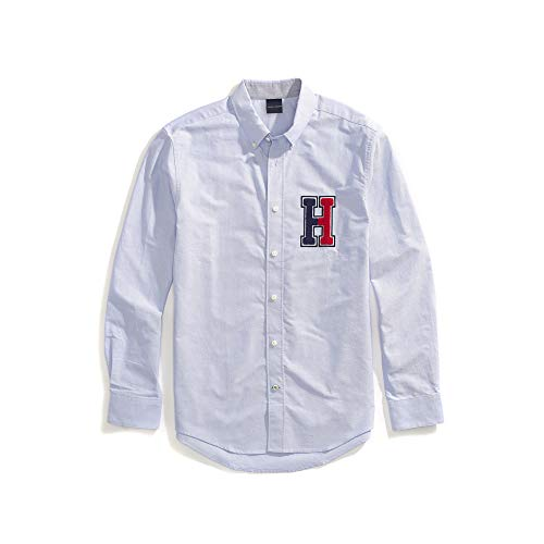 Tommy Hilfiger Men's Magnetic Button Shirt Custom Fit, Collection Blue Logo, Medium - Tommy Hilfiger Collection