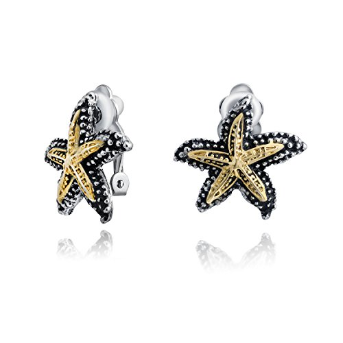 Nautical Two Tone Starfish Shaped Nautical Clip On Earrings Non Pierced Ears Oxidized Hammered Gold Tone Plated Brass ()