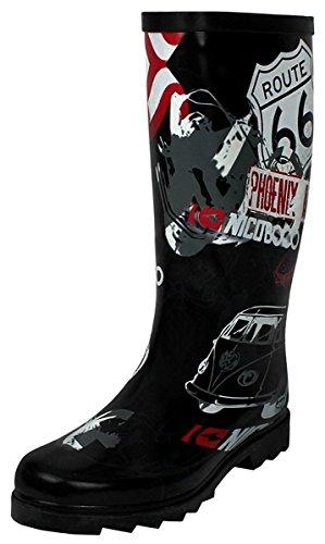 DEV Women's Multi Color West BLVD Puddles Rain & Snow mid Calf Flat Waterproof Boots Shoes...
