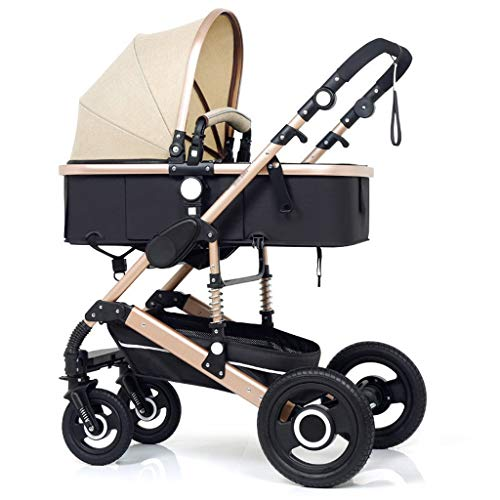 High Landscape Pram Travel System 3 in 1 Stroller Buggy Two-Way Baby Pushchair Foldable Height-Adjustable Strollers & Buggies (Color : Brown, Size : 34.2524.0142.91inch)