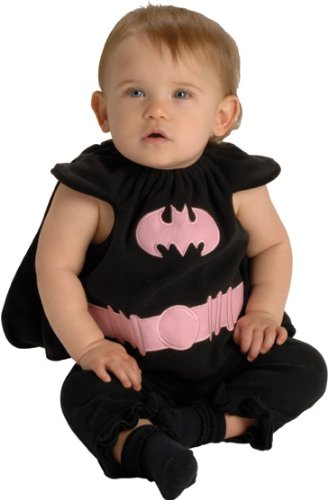DC Comics Deluxe Pink and Black Batgirl Bib and Cape, 0-9 Months Costume (Everyday Bib)