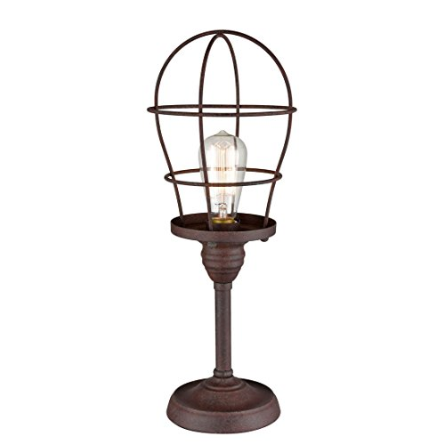 (AXILAND Industrial Wire Cage Accent Lamp Rust Finish Table Lamp)