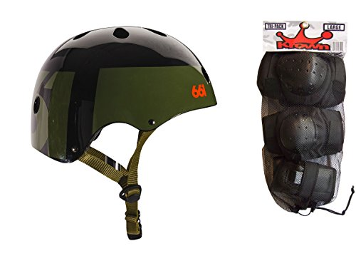 661 Dirt Lid Skate BMX Helmet Army CPSC with Knee Elbow Wrist Pads Large ()