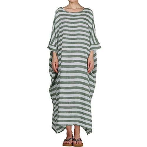 HYIRI Boho Women's Dresses Casual Striped 3/4 Sleeve O-Neck Casual Loose Kaftan Long Maxi Dress Green -