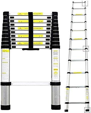 homgrace – Escalera de aluminio telescópica (aluminio – Escalera extensible multiusos Escalera escalera desván Loft Escalera con protección para los dedos, soporta hasta 150 kg, Plateado: Amazon.es: Bricolaje y herramientas