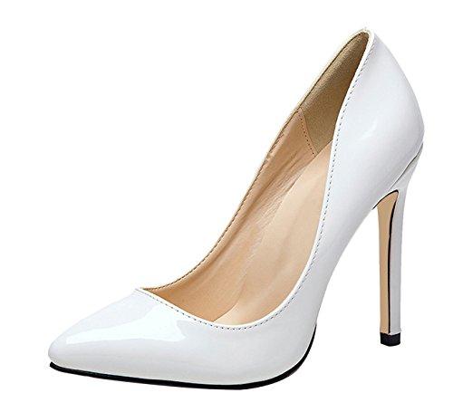 Women's High Heel Stiletto Pointed Toe Pumps(White) - 8