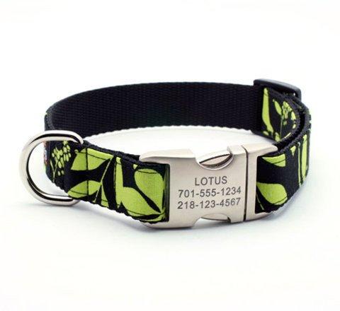 "Designer Dog Collar With Personalized Buckle - Lotus - Medium (3/4"" width)"
