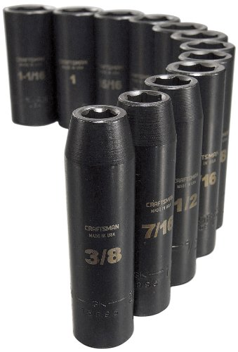 Craftsman 9-15886 6 Point Deep 1/2-Inch Drive Standard Easy to Read Impact Socket Set, 12-Piece