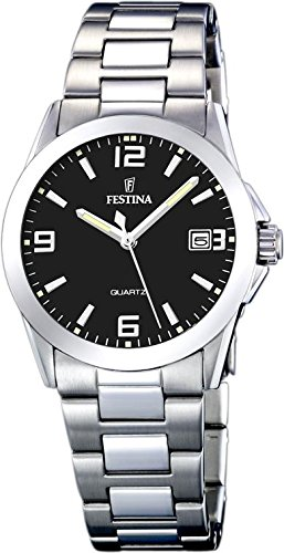Festina Steel Collection Brushed/polished Bracelet Black Dial Women's watch #F16377/4