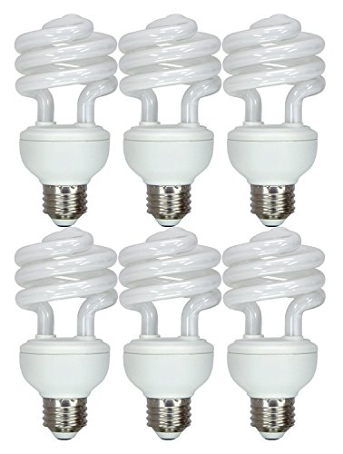 GE Energy Smart CFL Daylight 20-Watt (75-Watt Equivalent) 1300-Lumen T3 Medium Base Spiral Light Bulb - 6 Bulbs