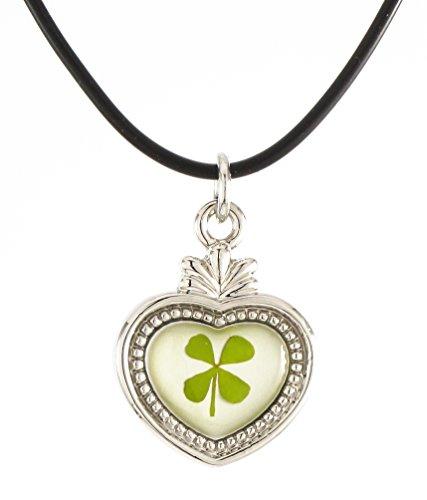 Genuine Four-leaf Lucky Clover Crystal Amber Necklace, Claddagh Heart !