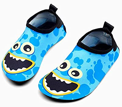 Giotto Kids Swim Water Shoes Quick Dry Non-Slip for Boys & Girls, G015A-Blue, 24-25