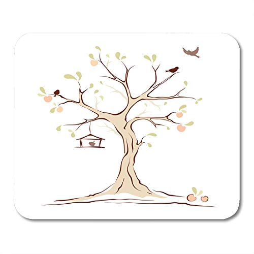 Emvency Mouse Pads Apples Green Family Birds on Summer Tree Animal Branch Mouse Pad 9.5