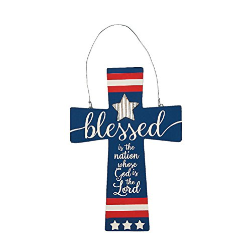 Fun Express Patriotic America Flag Cross Door Sign (Wood) Religious Fourth of July Home ()