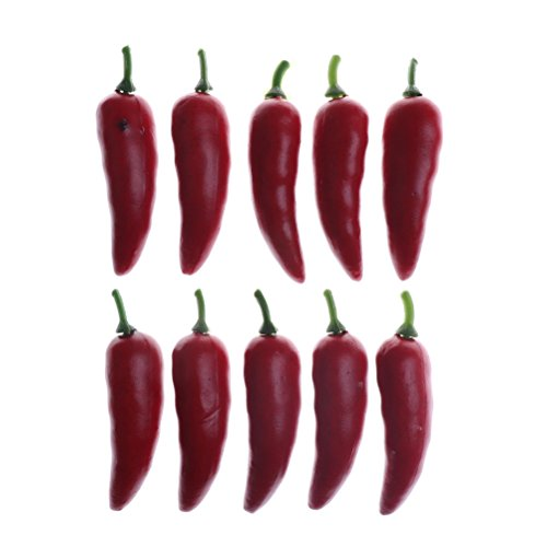 (CoscosX 10 Pcs Mini Artificial Chili Lifelike Pepper Decorative Vegetable Ornaments Accessories for Home Dollhouse Fairy Garden Party Fake Simulation Chili Red)