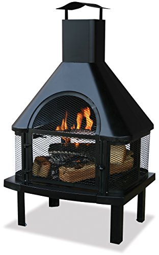 Uniflame Firehouse with Chimney, Black (Patio Fireplace)