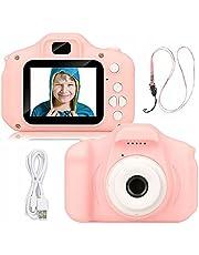 Retoo Digitale kindercamera 1080p met 2 inch scherm, videokindercamera met oplaadbare batterij, digitale camera, speelgoed voor peuters, fotoapparaat, cadeau voor jongens, meisjes (roze wit, 3MP)