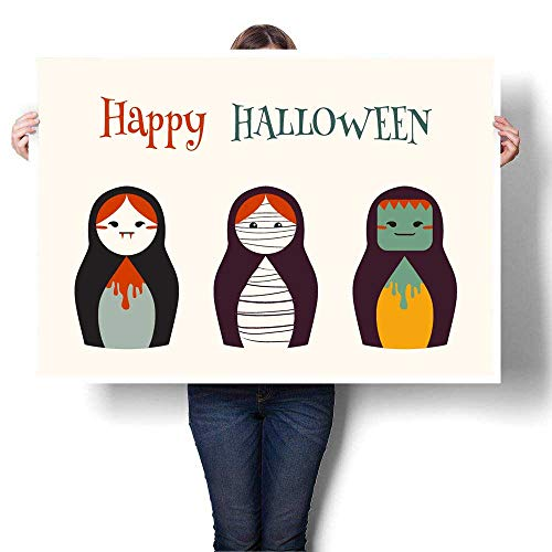 MartinDecor Wall hangings Illustration - Halloween Costume Russian Dolls Decorative Fine Art Canvas Print Poster K 36