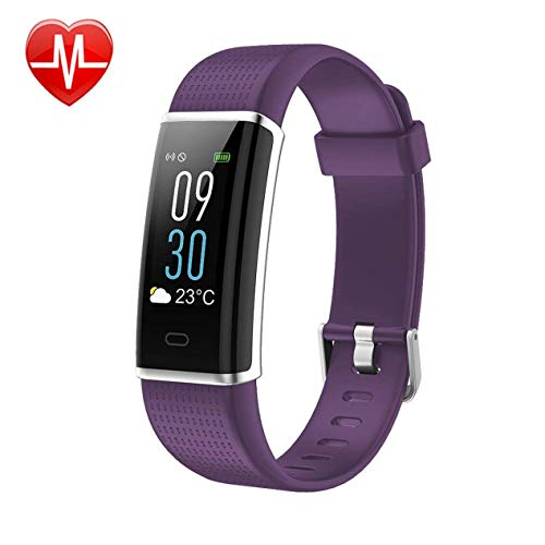 KARSEEN Fitness Tracker, Activity Tracker Fitness Watch Heart Rate Monitor Colorful OLED Screen Smart Watch with Sleep Monitor, Step Counter, IP68 Waterproof Pedometer for Android&iOS Phone (Purple)