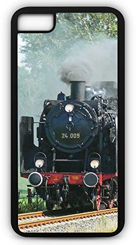 iPhone 7 Plus 7+ Case Steam Locomotive Train Railroad Hobo Customizable by TYD Designs in Black Rubber ()