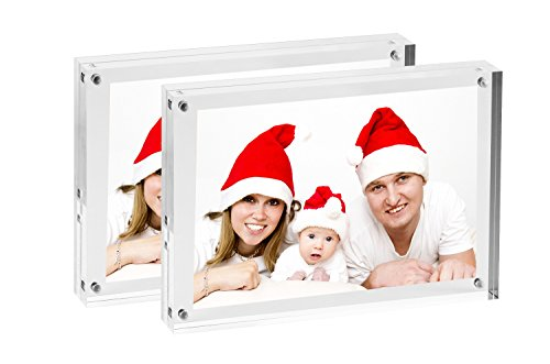 "Console Picture Frame - Clear Double Sided Acrylic Magnetic Photo Frames | Free Standing Picture Frames For Elegant Desktop Display With Clear Borders - Set of 2 Frames - frame size 5"" x 7"" to hold photo 4"" x 6"" (2, 5"