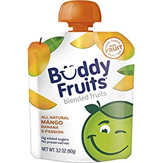 Buddy Fruits Pure Blended Fruit To Go Apple and Mango Applesauce | 100% Real Fruit | No Sugar, Non GMO, Vegan, Gluten Free, No Preservatives, BPA Free , Certified Kosher | 3.2oz Pouch 24 Pack