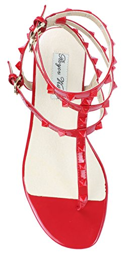 Royou Yiuoer Vrouwen Leren Bezaaid Sandalen T-strap Flats Sandalen Rood