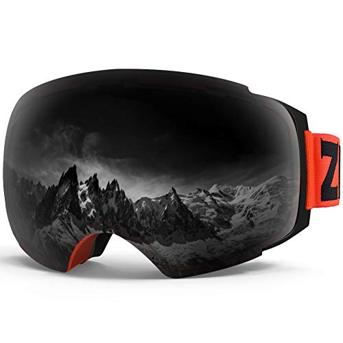 Zionor X4 Ski Snowboard Snow Goggles Magnet Dual Layers Lens Spherical Design Anti-Fog UV Protection Anti-Slip Strap for Men ()