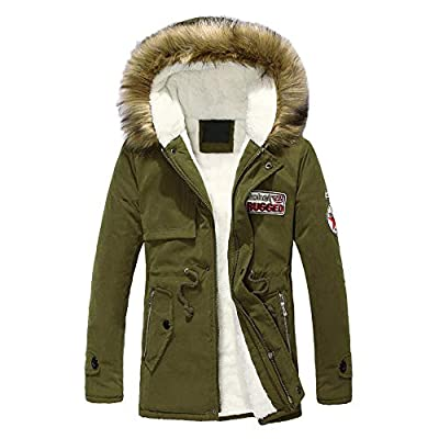 YOcheerful Mens Puffer Coat Boy Outdoor Bomber Jacket Winter Leisure Hoodie Outerwear Warm Parka Blouse