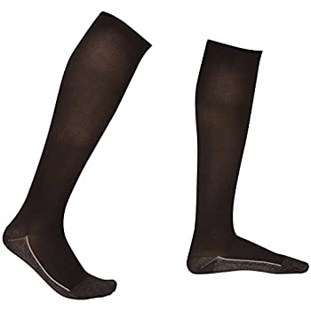 3 Pair EvoNation Men's Copper USA Made Graduated Compression Socks 20-30 mmHg Firm Pressure Medical Quality Knee High Orthopedic Support Stockings Hose - Comfort, Circulation, Travel (Large, Black)