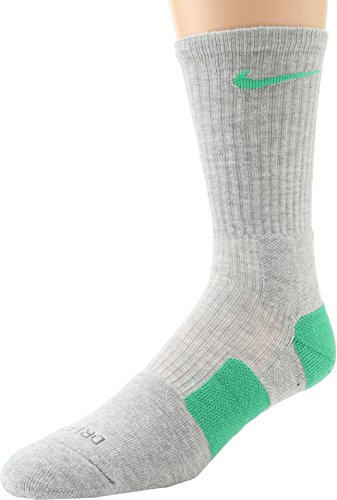 Nike Elite Cushioned Basketball Crew Socks - Grey Heather/Flash Lime