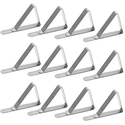 Sscon 12pcs Stainless Steel Table Clips Triangle Flexible Table Cover Clamps Table Cloth Holder for Picnic Wedding, Party, Marquees ()