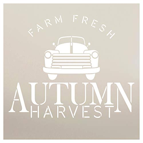 Farm Fresh Autumn Harvest Truck Stencil by StudioR12 | Wood Signs | Word Art Reusable | Pumpkin Apple | Painting Chalk Mixed Media Multi-Media | Use for Journaling, DIY Home - Choose Size (12