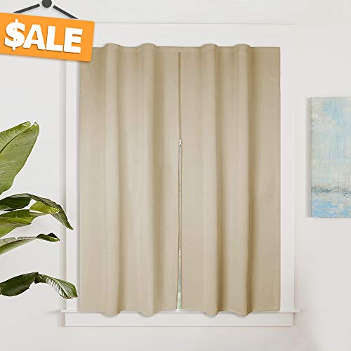 Blackout Curtain Window Screen Privacy Drape for Cafe/Office, Sticky Frame & Middle Zip Design Hang Without Rod, Width Adjustable Curtain for Bathroom/Downstair, W 52 x L 54 inch, Cream Beige (Drapes Privacy)