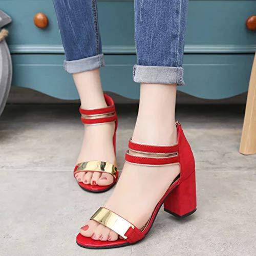 Donna Alti Posteriore Sandali Cinturino Alla Caviglia Tacco Rosso Con Plateau Cerniera Scarpe Meibax Sexy Eleganti Tacchi E Col AtOWZq