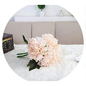 shine-hearty 5 Heads Artificial Irene Peony Flower Wedding Gift Bridal Bouquet Holding Flowers Study Bedroom Home Decor,Light Pink 63