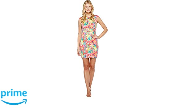 0b5a2cf840 Tahari by ASL Women s Scuba Floral Sheath Dress Rose Citrine Pink Dress at  Amazon Women s Clothing store