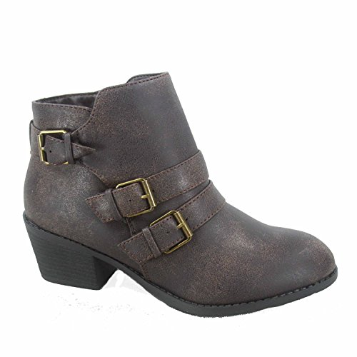 Forever Link Eury-4 Women's Fashion Round Toe Buckles Zipper Low Heel Ankle Booties Shoes,Brown,6.5