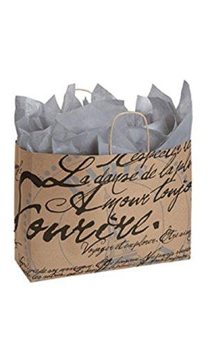 """Large Paris Script Paper Shopping Bag 16""""L x 6""""D x 12 ½""""H Case of 25 (Paris Cabinet Bookcase)"""