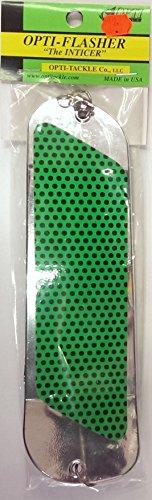 Opti Tackle Inticer Flasher Chrome Green Dots Plain Back 8-1/2 2 Fin