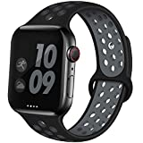 EXCHAR Sport Band Compatible with Apple Watch Band 44mm 42mm Breathable Soft Silicone Replacement Wristband Women and Man for iWatch Series 5 4 3 2 1 Nike+ All Various Styles M/L Black-Grey